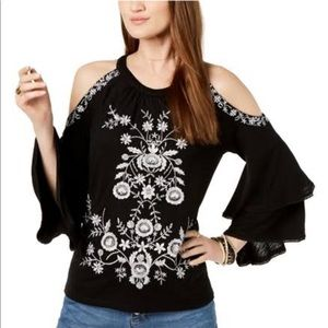 I-NC Embroidered Knit Blouse with Ruffle Sleeves